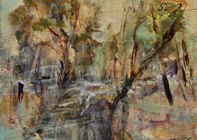 Por los bosques del Francés 14x18cm.Acrílico sobre papel2016
