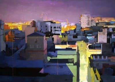 100 x 50 cm Nocturno Cádiz 1 Óleo sobre Tabla