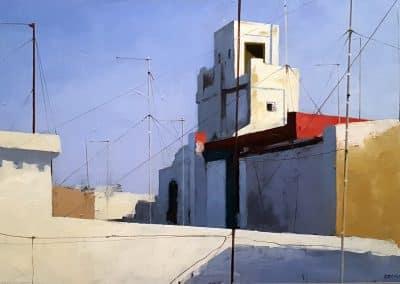 Torre blanca O/T 50x30cms
