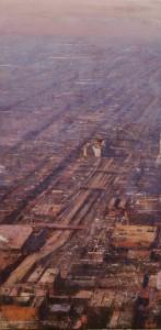 Panoramica industrial en Chicago mañana violeta y rosa